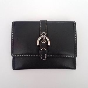 Coach Black Leather Slim ID Card Case Wallet